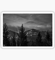 Snow Clouds in the Mountains BnW Sticker