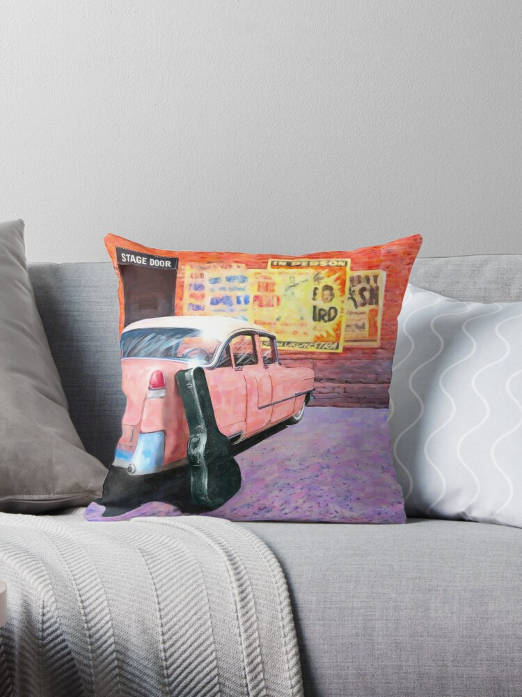 Amazing Vintage Pink Cadillac 1950S Rock N Roll Throw Pillow By Mark Tisdale Machost Co Dining Chair Design Ideas Machostcouk