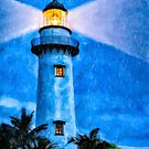 St Simons Island Artwork - Lighthouse At night by Mark Tisdale