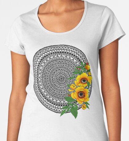 Golden poppy mandala Premium Scoop T-Shirt