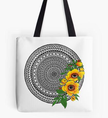 Golden poppy mandala Tote Bag