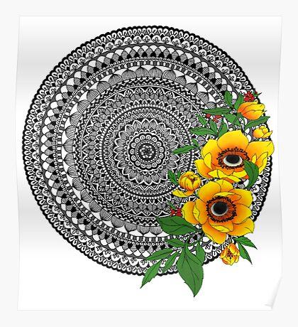 Golden poppy mandala Poster