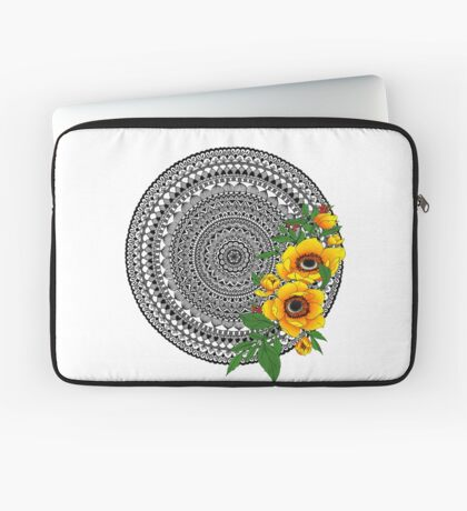 Golden poppy mandala Laptop Sleeve