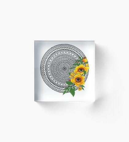 Golden poppy mandala Acrylic Block
