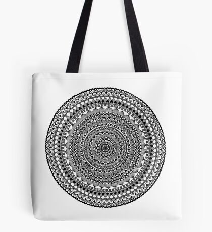 Black Moon Mandala Tote Bag