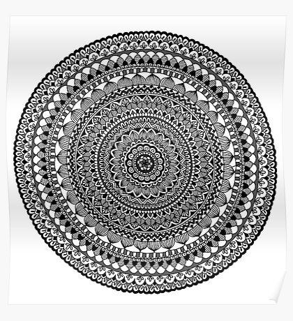 Black Moon Mandala Poster