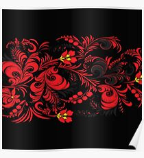 Red And Black Floreal Pattern Poster