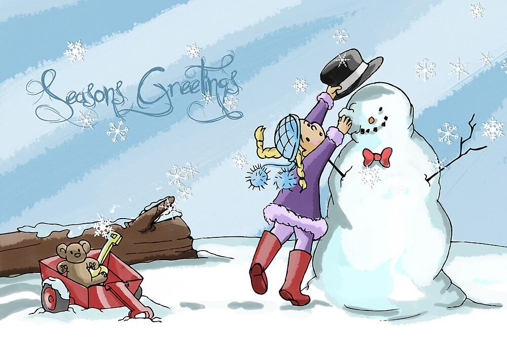 Little Girl and the Snowman by scarletmayhem08