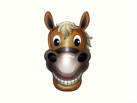 Happy Horse Face Cartoon Character Art Prints By Gotcha29 Redbubble