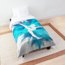 Gymnast Silhouette - Blue Explosion  Comforter