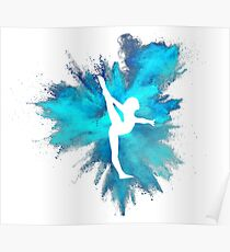 Gymnast Silhouette - Blue Explosion  Poster