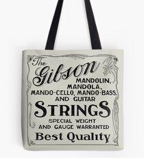 Gibson Mandolin Strings Vintage Ad Art Tote Bag