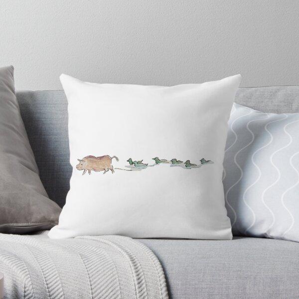 Pig & Ducks: Different Paths, Same Direction Throw Pillow