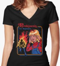Pyrokinesis for Beginners Women's Fitted V-Neck T-Shirt