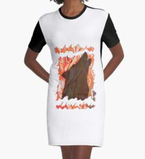 HOWL - WILD WOLF IN SILHOUETTE  Graphic T-Shirt Dress