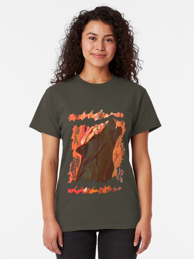Alternate view of HOWL - WILD WOLF IN SILHOUETTE  Classic T-Shirt