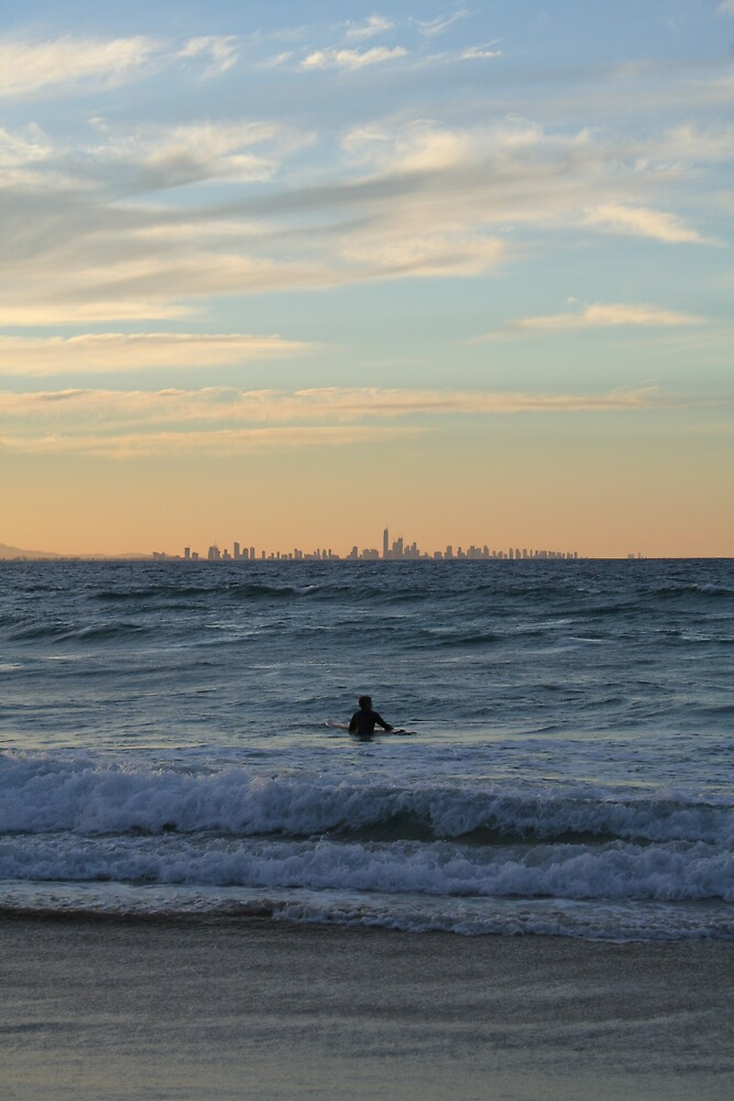 Lone Surfer - Coolongatta by Peter South