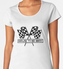 Pave the Bay Checkered Flags - Funny Racing (Black) Women's Premium T-Shirt