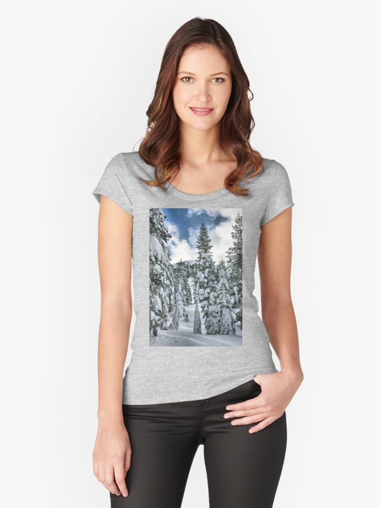 Snow Laden Women's Fitted Scoop T-Shirt Front