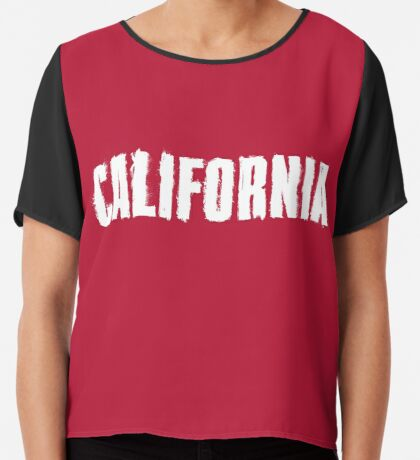 California Distressed Letters Chiffon Top