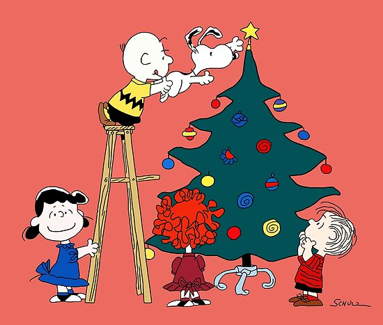 decorating the christmas tree with charlie brown snoopy and other peanuts characters by bluevisionink