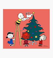 Decorating the Christmas Tree with Charlie Brown, Snoopy and Other Peanuts Characters Photographic Print