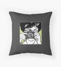 Vintage Diana Camera Woman Photographer Throw Pillow
