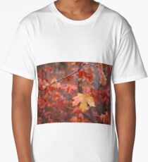 Red leaf hanging in the fall Long T-Shirt