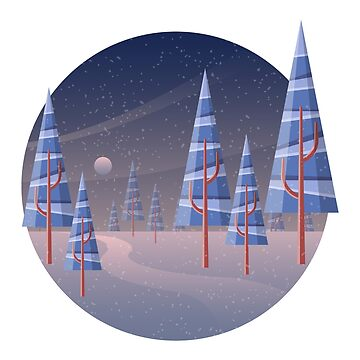 Geometric winter landscape with pine tree by creaschon