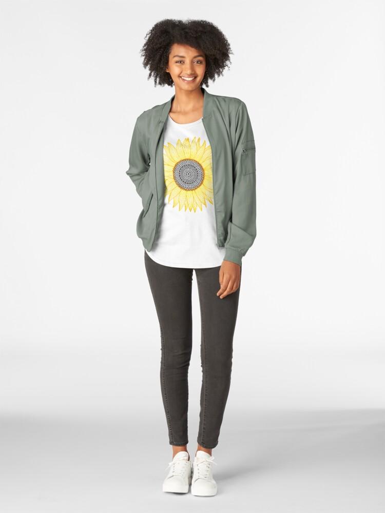 Alternate view of Golden Mandala Sunflower Premium Scoop T-Shirt