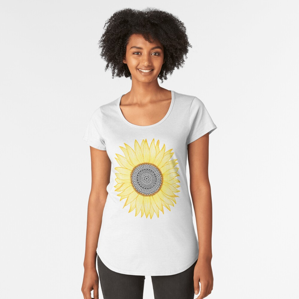 Golden Mandala Sunflower Premium Scoop T-Shirt