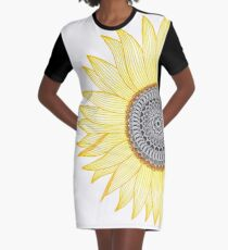 Golden Mandala Sunflower Graphic T-Shirt Dress
