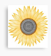 Golden Mandala Sunflower Canvas Print