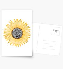 Golden Mandala Sunflower Postcards