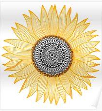 Goldene Mandala-Sonnenblume Poster