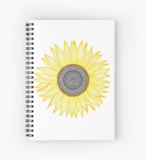 Golden Mandala Sunflower Spiral Notebook