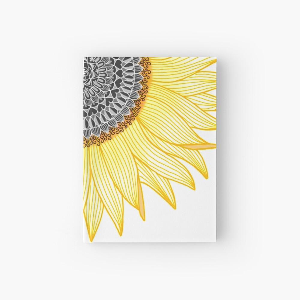 Golden Mandala Sunflower Hardcover Journal