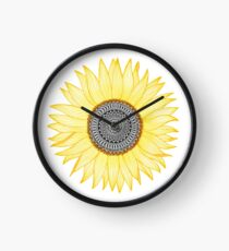 Golden Mandala Sunflower Clock