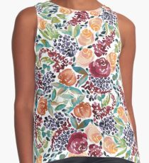 Watercolor Bouquet Hand-Painted Roses Celosia Bilberries Leaves Sleeveless Top