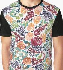 Watercolor Bouquet Hand-Painted Roses Celosia Bilberries Leaves Graphic T-Shirt