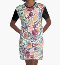 Watercolor Bouquet Hand-Painted Roses Celosia Bilberries Leaves Graphic T-Shirt Dress