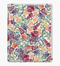 Watercolor Bouquet Hand-Painted Roses Celosia Bilberries Leaves iPad Case/Skin