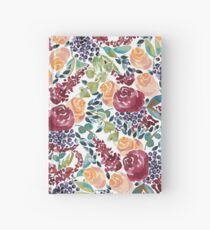 Watercolor Bouquet Hand-Painted Roses Celosia Bilberries Leaves Hardcover Journal