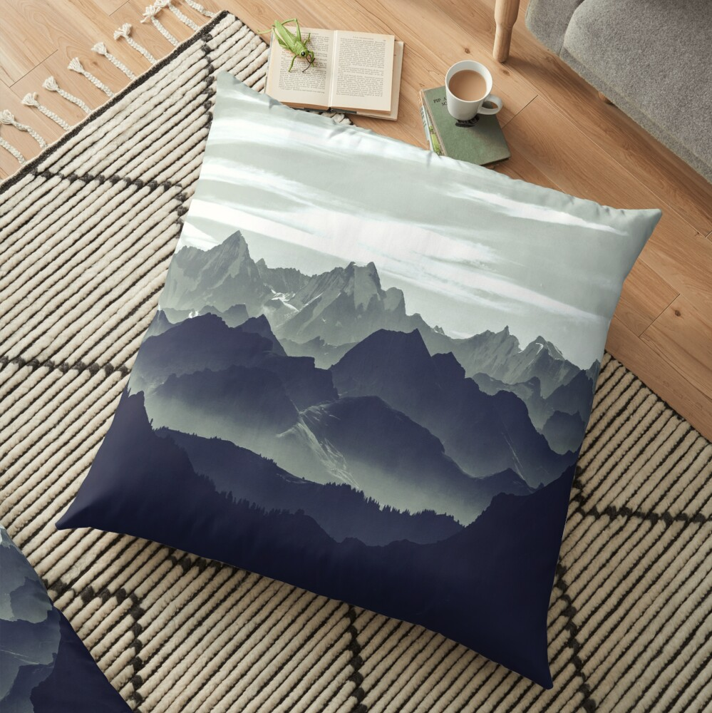 Mountains are calling for us Floor Pillow