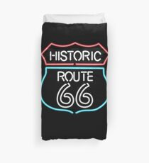 Historic Route 66 Vintage Retro Style Neon Sign Duvet Cover