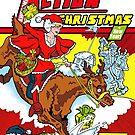 Have an Action Christmas! Super Mrs Santa Christmas Card by Jokertoons
