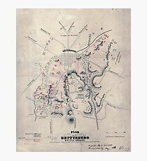 Civil War Maps 1405 Plan of the Gettysburg battle ground Photographic Print