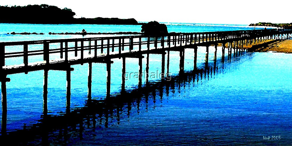 Over the bridge         to the blue of the Pacific by grarbaleg