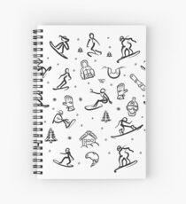 Snowboarding Freestyle Doodle Set Spiral Notebook