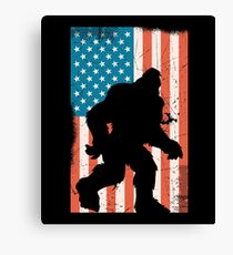 Distressed American USA Flag  Bigfoot Sasquatch  Canvas Print